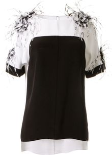 Prabal Gurung Silk White and Black Top - Lyst
