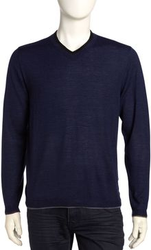 Robert Graham Pursuit V Neck Sweater Navy - Lyst