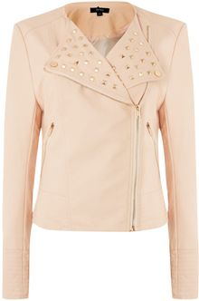 Therapy Faux Leather Studded Biker Jacket - Lyst