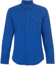 Topman Blue Space Dye Long Sleeve Flannel Shirt - Lyst