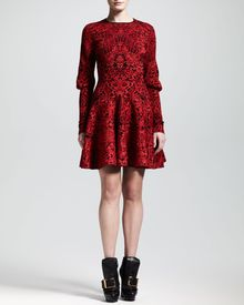Alexander McQueen Puckered Jacquard Mutton Sleeve Dress - Lyst
