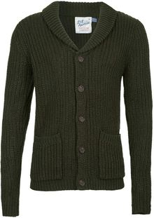 Topman Green Shawl Collar Cardigan - Lyst