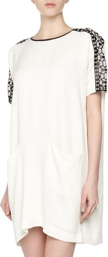 Catherine Malandrino Dolman Cut Out Crepe Tunic Dress White - Lyst