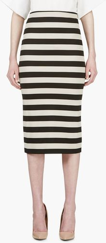 Burberry Prorsum Beige and Black Stripe Pencil Shirt - Lyst