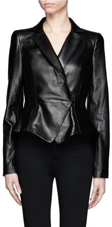 Alexander McQueen Peplum Leather Jacket - Lyst