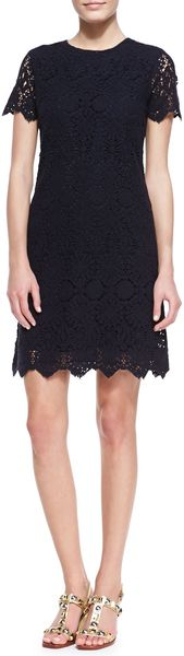 Tory Burch Trixy Crochet Lace Dress Medium Navy - Lyst
