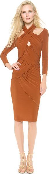 Donna Karan New York Draped 34 Sleeve Dress - Lyst