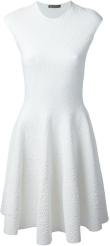 Alexander McQueen Embossed Floral Skater Dress - Lyst