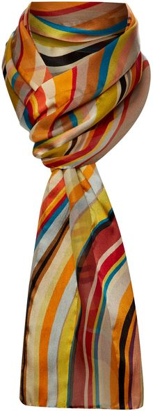 Paul Smith Silk Swirl Jacquard Stripe Scarf - Lyst