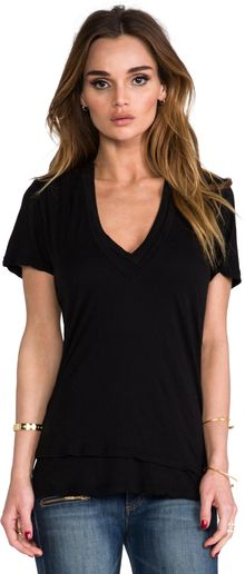 Monrow Basic Double Tissue Vneck - Lyst