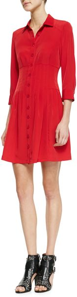 Nanette Lepore Rendezvous Pleated Buttonfront Shirtdress - Lyst