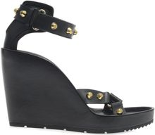Balenciaga Arena Stud Leather Wedge Sandals - Lyst