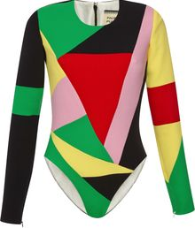 Fausto Puglisi Long Sleeve Multicolor Bodysuit - Lyst