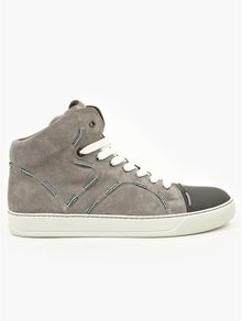 Lanvin Mens Grey Embroidered Midtop Sneakers - Lyst