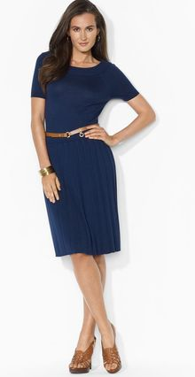 Ralph Lauren Lauren Dress Short Sleeve Pleat Skirt - Lyst