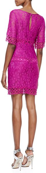 Laundry By Shelli Segal Halfsleeve Lace Shift Dress Ultra Berry - Lyst