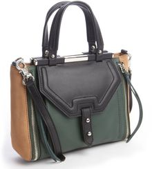 Rebecca Minkoff Hunter Green Leather Colorblock Zip Detail - Lyst