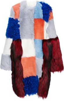 Roksanda Ilincic Royal Bluerust Patchwork Fur Coat - Lyst