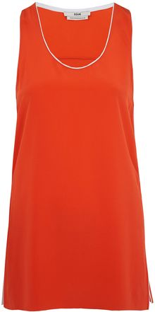 Edun Red Piped Silk Vest Top - Lyst