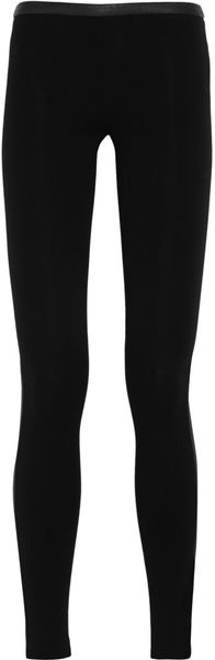 Emilio Pucci Leatherpaneled Stretchjersey Leggings - Lyst