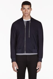 Paul Smith Navy Wool Bomber Jacket - Lyst