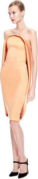 Zac Posen Stretch Duchess Strapless Dress - Lyst