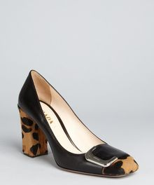 Prada Black Leather Leopard Print Calf Hair Block Heel Pumps - Lyst