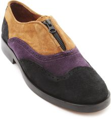 B Store Richard Camel Black and Aubergine Zipped Derbies - Lyst