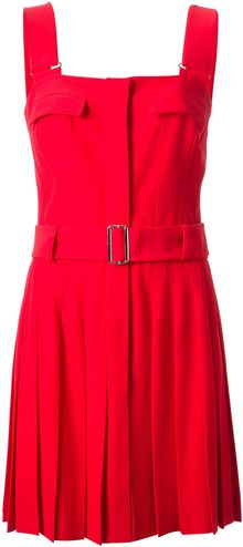 Alexander McQueen Pleated Belted Dress - Lyst