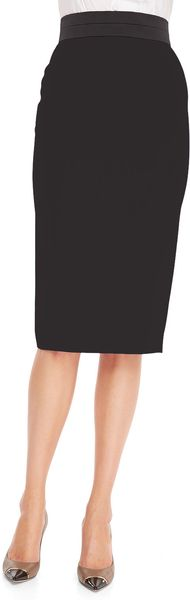 L'Wren Scott Back Slit Midi Pencil Skirt Black - Lyst