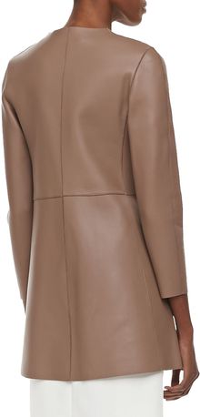 No.21 Collarless Long Napa Leather Coat Nude - Lyst