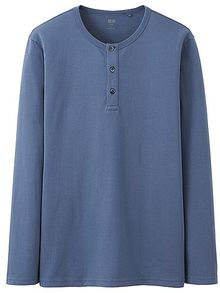 Uniqlo Supima Cotton Henley Neck Long Sleeve T Shirt - Lyst