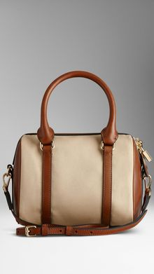 Burberry Small Cotton Gabardine Bowling Bag - Lyst