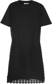 See By Chloé Cottonjersey and Crocheted Cotton Mini Dress - Lyst