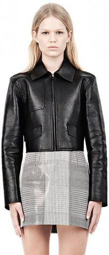 Alexander Wang Bonded Zip Front Jacket with Knit Back - Lyst
