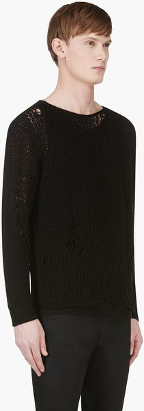 Alexander McQueen Black Distressed Open_knit Sweater - Lyst
