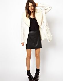 Asos Premium Biker Coat with Detachable Faux Fur Collar - Lyst