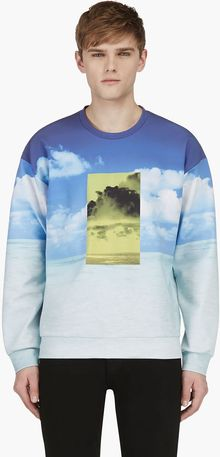 Calvin Klein Ssense Exclusive Blue Long Sleeve Ocean Print Sweatshirt - Lyst