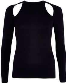 River Island Black Cut Out Shoulder Turtle Neck Top - Lyst