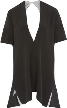 Edun Black Silk Drape Dress - Lyst
