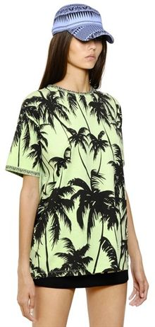 Fausto Puglisi Palm Printed Cotton Jersey T Shirt - Lyst