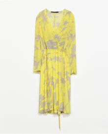 Zara Printed Crossover Dress - Lyst