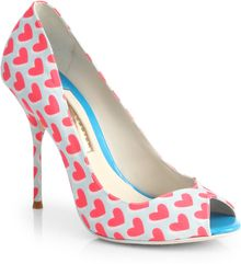 Sophia Webster Person 10 Heart Print Canvas Pumps - Lyst