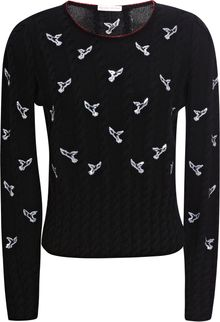 Olympia Le-Tan Twister Embroidered Cable Knit Jumper - Lyst