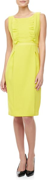 Carolina Herrera Ruffled Crepe Sheath Dress Lemon - Lyst