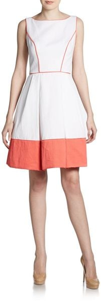 Theia Piped Piquã Dress - Lyst