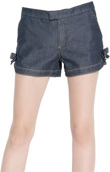 RED Valentino Denim and Cotton Poplin Shorts - Lyst