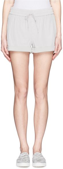 Helmut Lang Leather Front Roll Cuff Shorts - Lyst