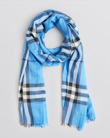 Burberry Giant Check Woolsilk Gauze Scarf - Lyst