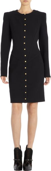 Emanuel Ungaro Square Buttoned Padded Shoulder Dress - Lyst